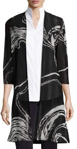 Misook 3/4 Sleeve Swirl Print Long Knit Jacket, Plus Size