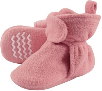 Hudson Baby Baby Cozy Fleece Booties with Non Skid Bottom Charcoal/Cream 12-18 Months