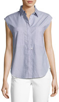 Derek Lam 10 Crosby Sleeveless Striped Solid-Combo Poplin Shirt