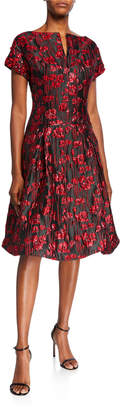 Rickie Freeman For Teri Jon Short-Sleeve Floral Jacquard A-Line Dress