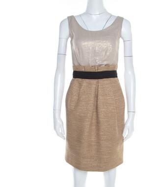 Dolce & Gabbana Gold Foil Print Bodice Sleeveless Tweed Dress S