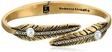 Rebecca Minkoff Antique Gold with Pearl Feather Oval Hinge Bangle Bracelet