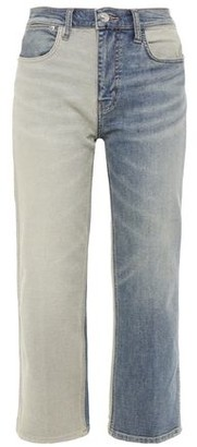 Current/Elliott The Vanessa Cropped Two-tone Mid-rise Straight-leg Jeans