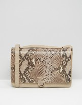 Modalu Leather Shoulder Bag With Chain Strap In Faux Snakeskin