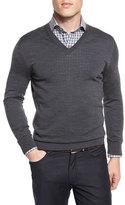 Ermenegildo Zegna High-Performance Merino Wool V-Neck Sweater, Gray