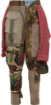 Ronald Van Der Kemp - Patchwork Printed Cotton-flannel, Denim And Twill Pants - Army green