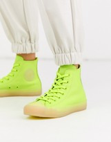 Converse Chuck Taylor Hi leather neon yellow trainers