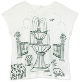 Dolce & Gabbana Short-Sleeve Botanical Garden Jersey Tee, White, Size 2-6