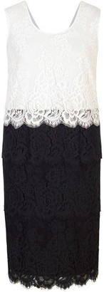 Chesca Scallop Trim Tiered Lace Dress