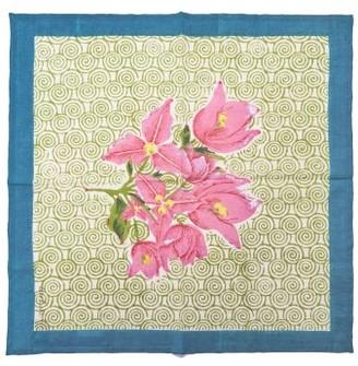 Issimo X Lisa Corti - Bouganvillea Spiral Floral-print Cotton Napkin - Green Multi