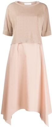 Fabiana Filippi Contrast-Panel Midi Dress
