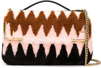 Fendi Double F shearling shoulder bag