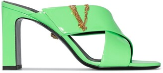 Versace Virtus 85mm patent-leather mules
