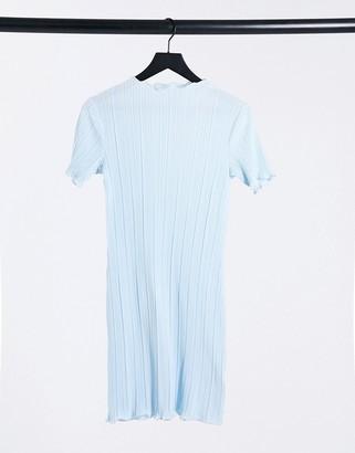Weekday Elaine recycled plisse lettuce hem mini dress in light blue