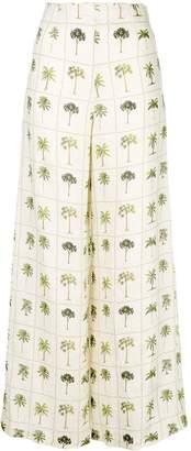 Agua Bendita Agua By tree print flared trousers