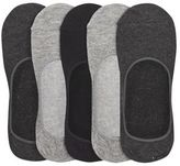 Burton Mens 5 Pack Grey And Black Invisible Socks
