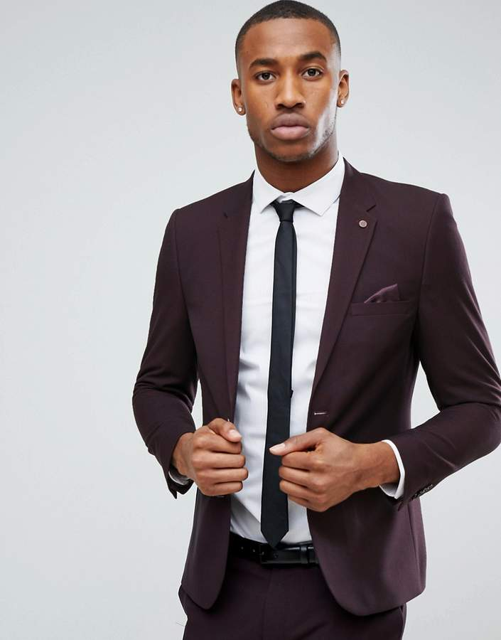 Burton Menswear Skinny Suit Jacket in Dark Burgundy
