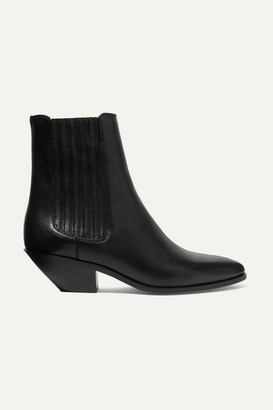 Saint Laurent West Leather Ankle Boots - Black