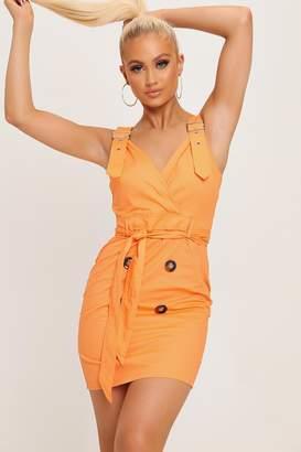 I SAW IT FIRST Orange Buckle Shoulder Tie Belt Dress