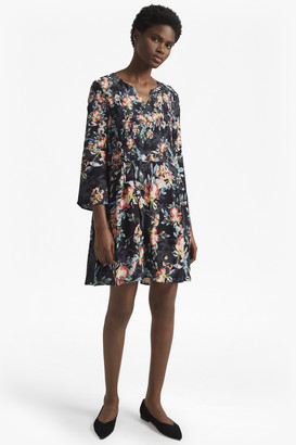 French Connection Delphine Crepe Mix Bell Sleeve Dress