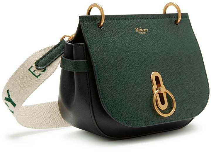 Mulberry Small Amberley Satchel Green Small Classic Grain and Branded Webbing