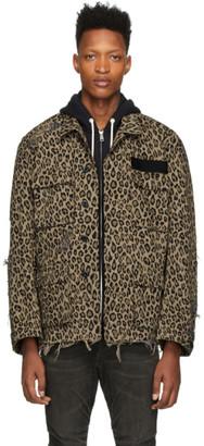 R 13 Beige Leopard Jacket