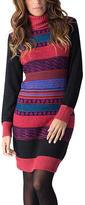 Yuka Paris Black Stripe Mock Neck Dress