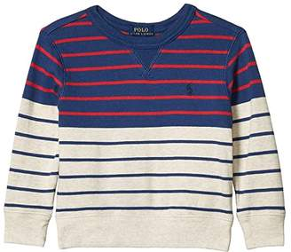 Polo Ralph Lauren Striped Cotton French Terry Sweatshirt (Toddler) (Federal Blue) Boy's Clothing