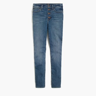 "J.Crew Petite 9"" high-rise skinny jean with button fly in authentic blue wash"