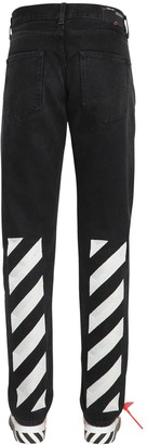 Off-White Diagonal Print Slim Cotton Denim Jeans