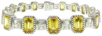 "Judith Ripka Sterling 7-1/2"" Yellow DiamoniqueTennis Bracelet"