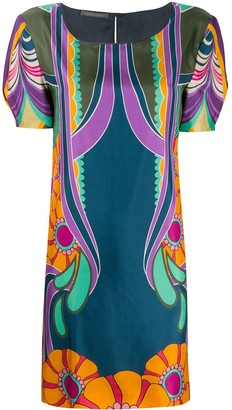 Alberta Ferretti Flowers Reflection silk dress