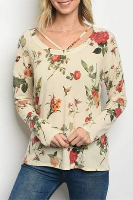 Sweet Claire Cream Floral Top