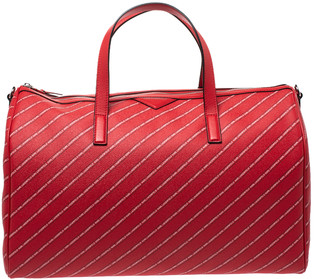 Karl Lagerfeld Paris Red Coated Canvas and Leather K/Stripe Logo Weekender Bag