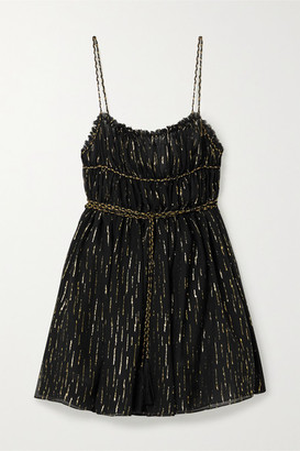 Saint Laurent Open-back Metallic Fil Coupe Silk-blend Chiffon Mini Dress - Black