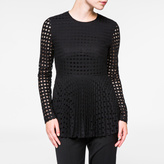 Paul Smith Women's Black Polka Dot Long-Sleeved Pleated Top