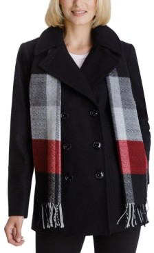 London Fog Double-Breasted Plaid-Scarf Peacoat