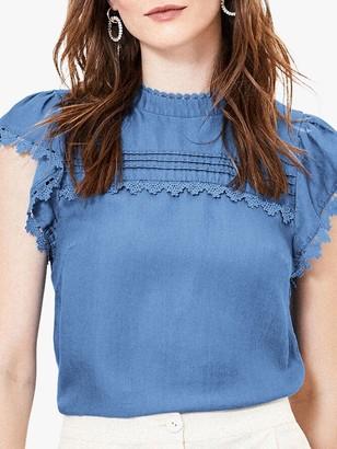 Oasis Lace Trim Shirt, Denim