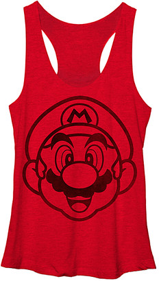 Super Mario Bros. Women's Tank Tops RED - Red Heather Face It Racerback Tank - Juniors