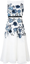 Lela Rose floral appliqué flared dress - women - Polyester/Silk Organza - 8