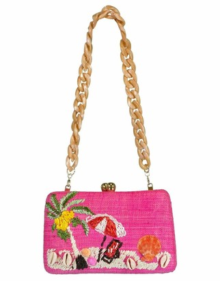 Serpui Marie Marissa Beach Embroidered Clutch