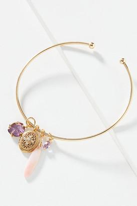 Serefina Locket Charm Choker Necklace By in Purple