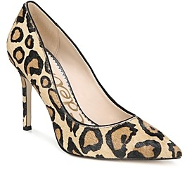 Sam Edelman Women's Hazel Pointed Toe Leopard Print Calf Hair High-Heel Pumps