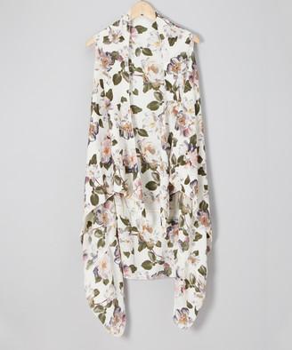 Lvs Collections LVS Collections Women's Kimono Cardigans White - White Floral Drape-Front Vest - Women