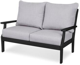 Polywoodâ® Braxton Loveseat with Cushions POLYWOODA Frame Color: Black, Cushion Color: Granite