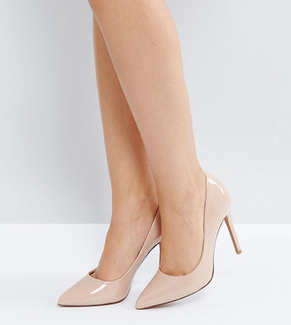 Asos Design DESIGN Wide Fit Paris pointed high heeled court shoes in almond-Beige