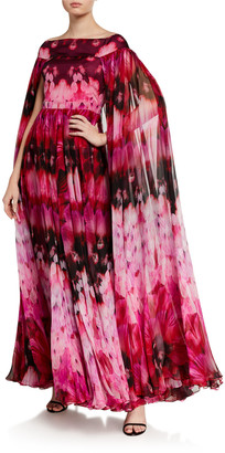 Alexander McQueen Off-the-Shoulder Printed Gown