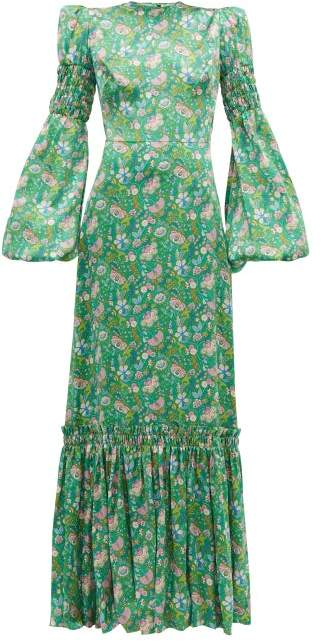 The Vampire's Wife Festival Floral Print Silk Charmeuse Maxi Dress - Womens - Green Multi