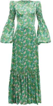 The Vampire's Wife Festival Floral-print Silk-charmeuse Maxi Dress - Womens - Green Multi