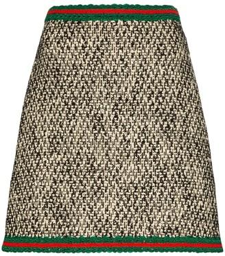 Gucci embroidered Web tweed mini skirt